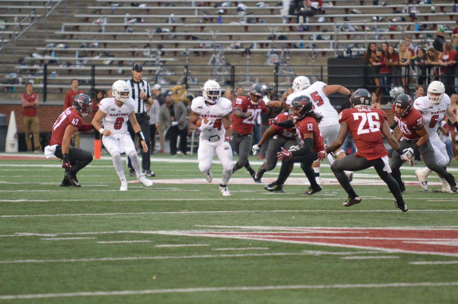 EWU RB Tamarick Pierce finds some open space during EWU's 59-24 loss to Washington State on Sept. 15 | Bailey Monteith for The Easterner