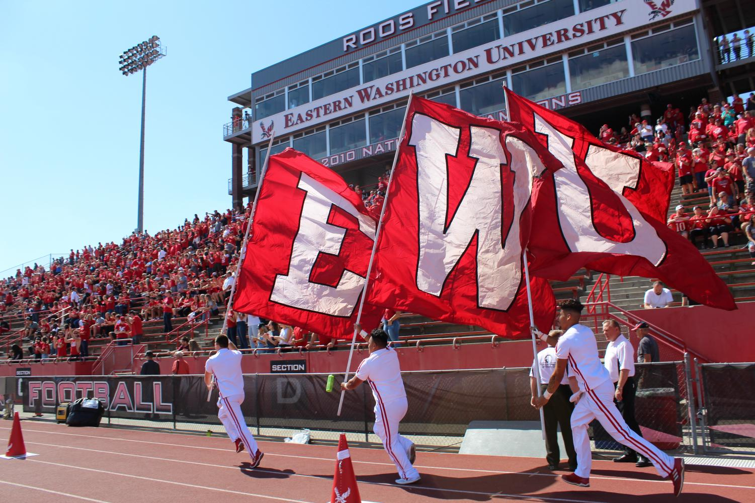 The EWU colors fly before the football season opener against Central Washington University on Sept. 1. EWU beat CWU 58-13 | Jeremy Burnham for The Easterner