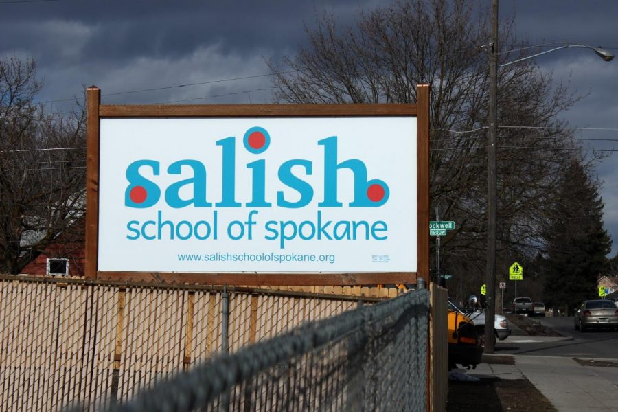 Salish School of Spokane sign guides students to the building in the Shadle Park area of Spokane. The Native American Student Association collected supplies for the school in 2016.