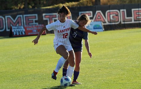 EWU junior Saige Lyons fights for the ball against Weber State on Oct. 3. The Eagles lost 1-0.