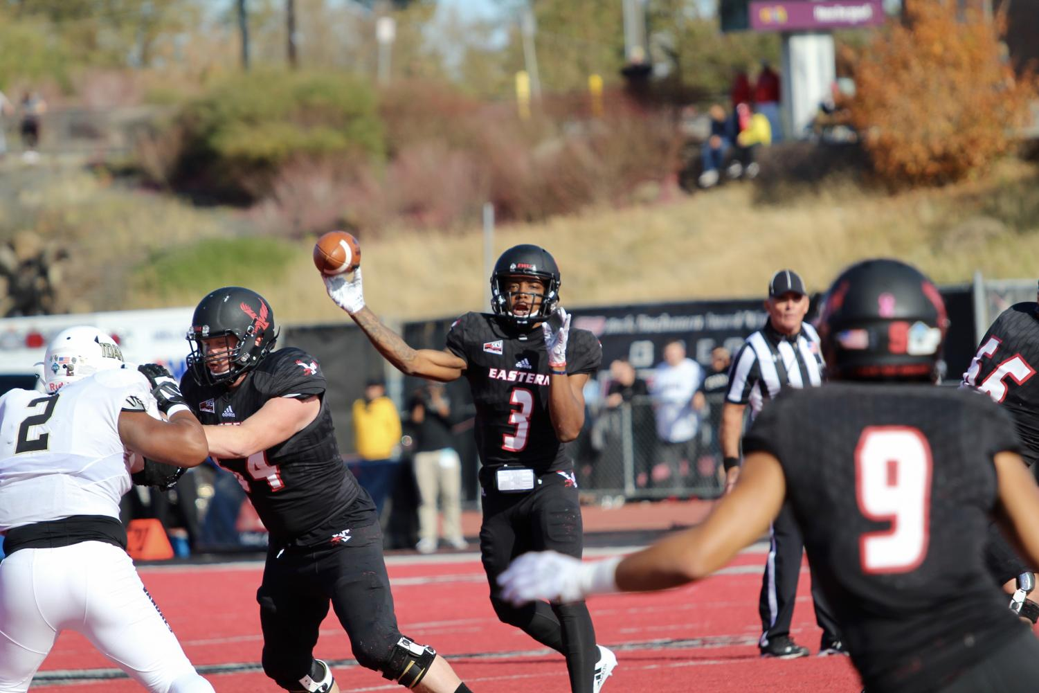 Sophomore Eric Barriere throws a pass against Idaho. Barriere threw for a career high 326 yards in the game.