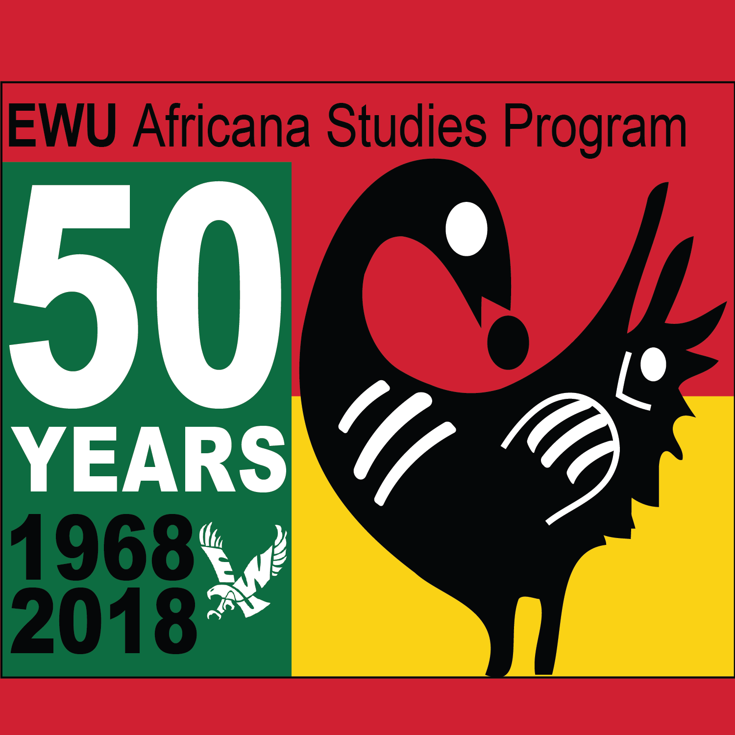 The EWU Africana Studies graphic celebrates the program's 50-year anniversary. The program started in 1968.