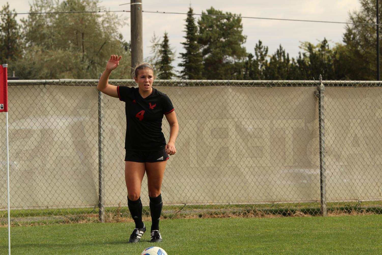 Senior midfielder Allison Raniere awaits a corner kick in a match against Portland State on Sept. 23. Raniere was an All-Big Sky honorable mention.