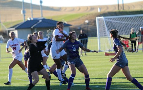 Chavez leaps on a cross against Weber State on Oct. 12. Chavez scored in each of the Eagles last three games