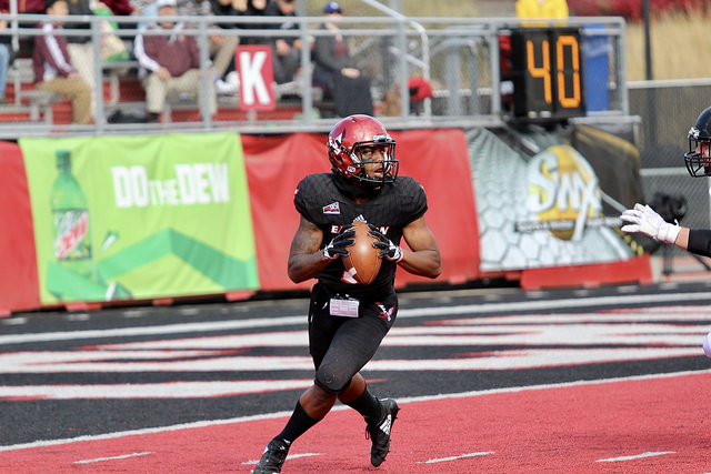 EWU+sophomore+QB+Eric+Barriere+drops+back+to+pass+against+Southern+Utah+University+on+Oct.+6.+The+Eagles+beat+the+Thunderbirds+55-17.