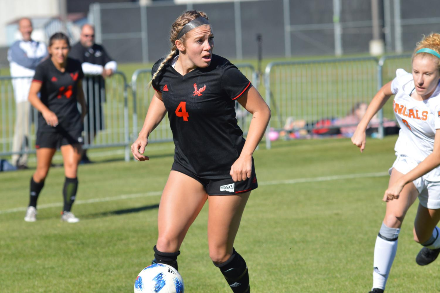 Senior Allison Raniere during Sunday's senior day victory over Idaho State. Raniere scored a goal and had two assists in the win. | Bailey Monteith for The Easterner