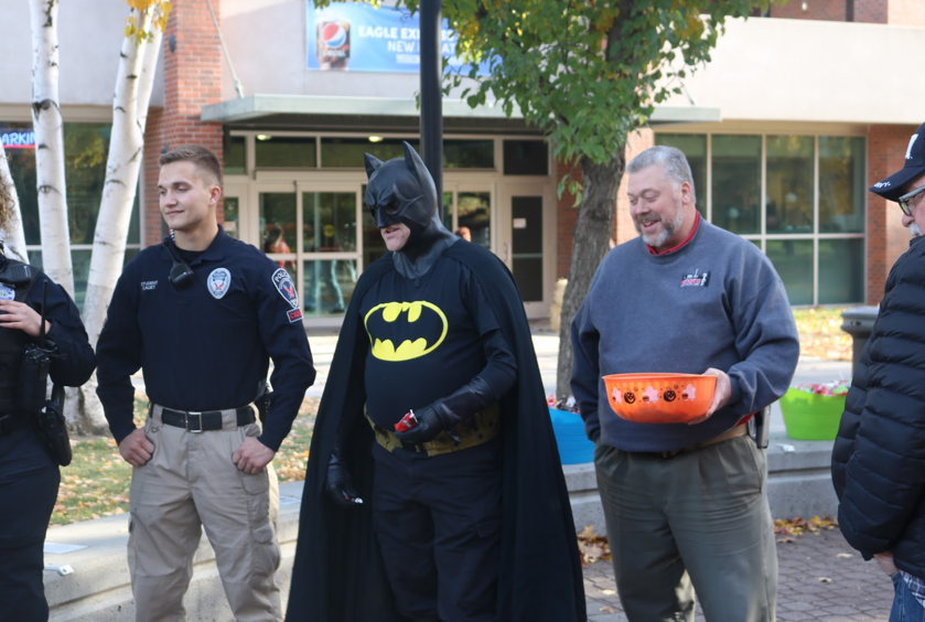 Kevin Hills, director of disability support services,  is dressed up as Batman during Harvest Fest 2017. The 2018 edition of the event will be on Oct. 31 from 2:30-6:00 p.m. in Hargreaves Hall.