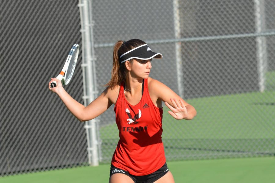 Sophomore Zoey Nelson takes a swing during practice last week. Nelson opened her season with a 8-5 singles win over an opponent from Montana.