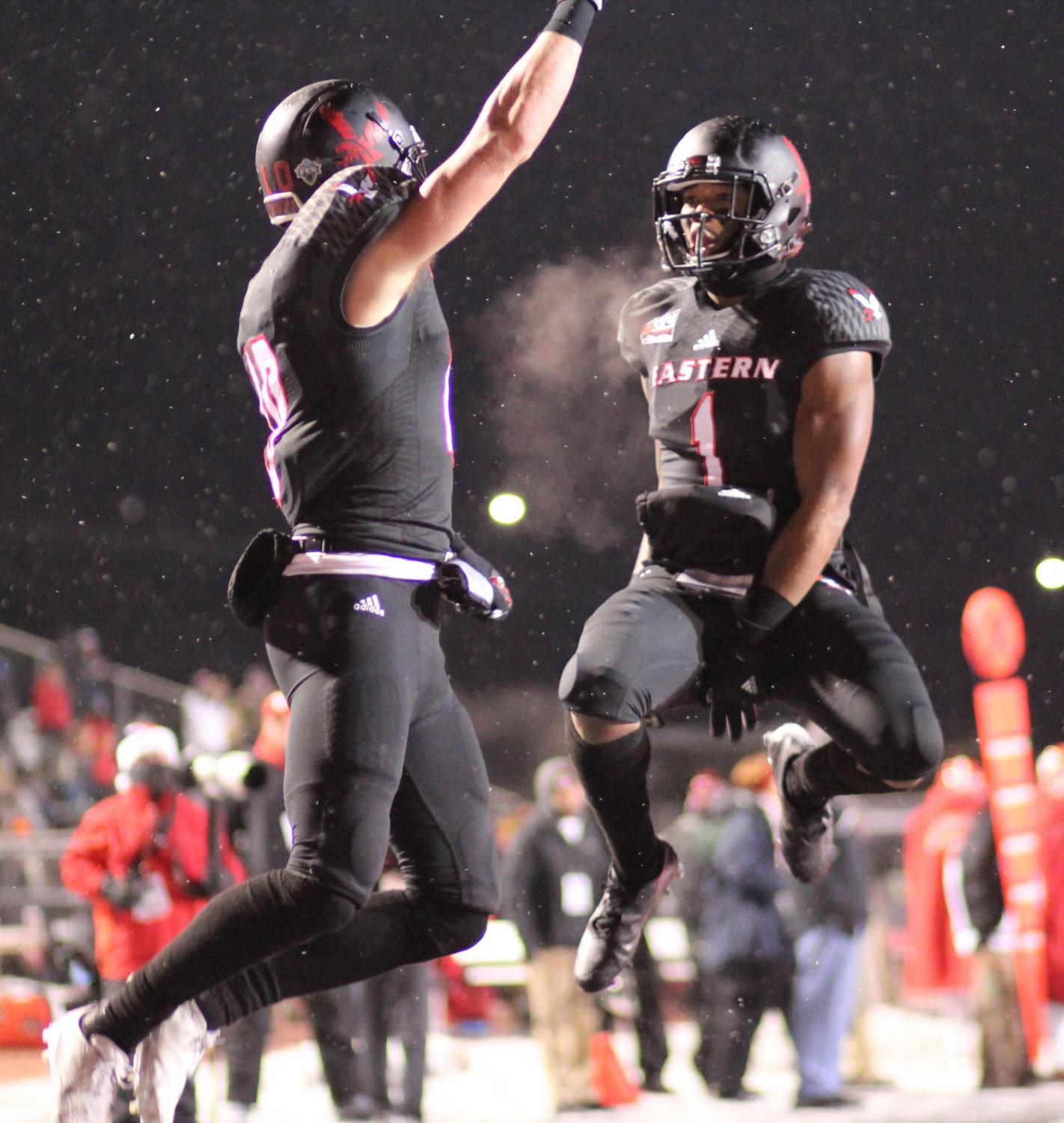 Cooper Kupp and Shaq Hill celebrate a touchdown in the 2016 semifinal against Youngstown State. EWU ultimately lost the game when the Penguins scored a last second touchdown.
