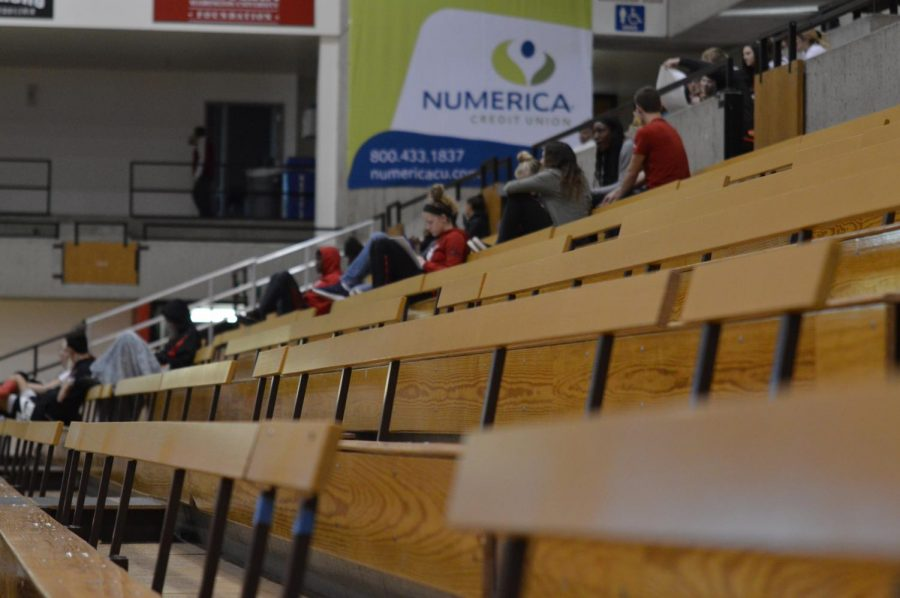 Fans+watch+on+as+the+EWU+women%27s+basketball+team+beat+Simon+Fraser+72-66+in+a+home+exhibition+on+Sunday.+There+were+166+people+in+attendance%2C+below+last+year%27s+regular+season+average+of+about+600.