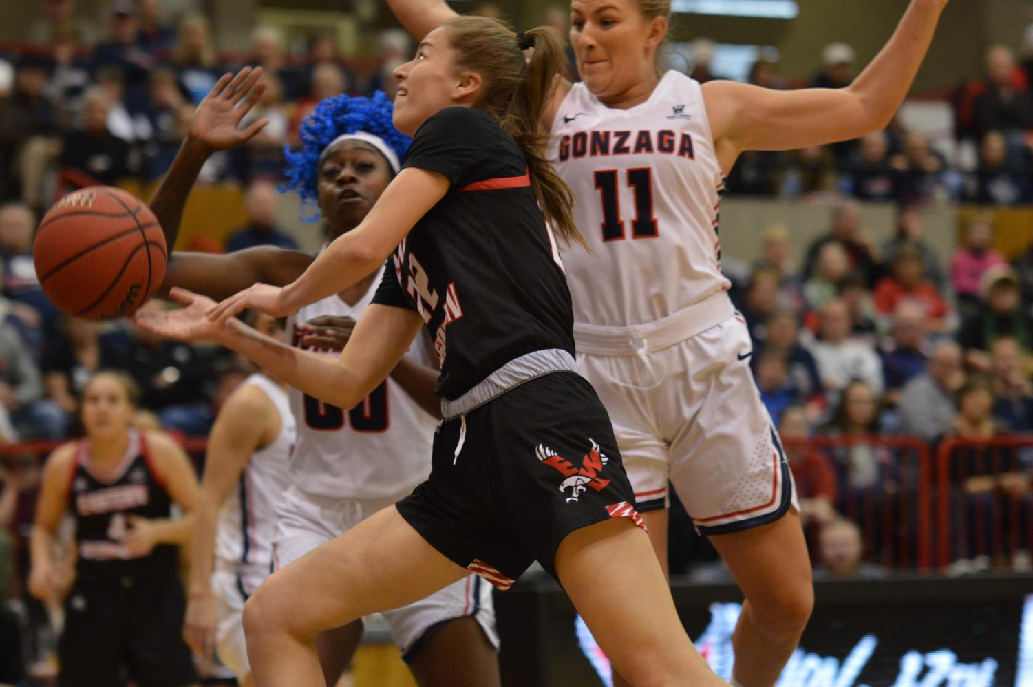 Sophomore guard Brittany Klaman goes in for a layup against Gonzaga on Sunday. Klaman finished the game with four points.