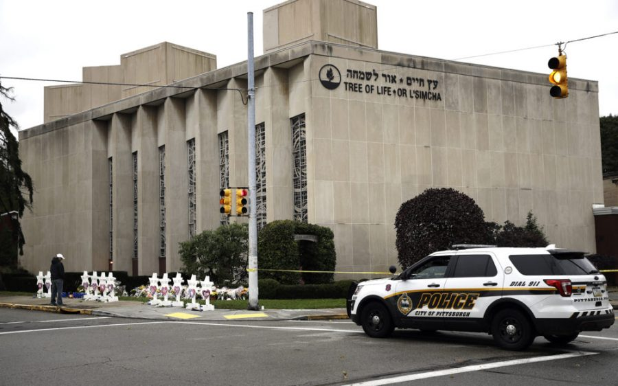 A+police+vehicle+next+to+the+Tree+of+Life+synagogue+in+Pittsburgh%2C+PA.+A+46-year-old+man+killed+11+Jewish+people+before+surrendering+to+authorities+at+the+place+of+worship+on+the+morning+of+Oct.+27.