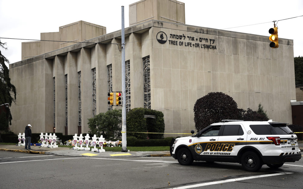 A police vehicle next to the Tree of Life synagogue in Pittsburgh, PA. A 46-year-old man killed 11 Jewish people before surrendering to authorities at the place of worship on the morning of Oct. 27.