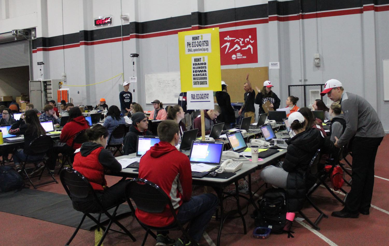 Students train for the Associated Press Election Center. The AP has hired EWU students for every election year since 2000.