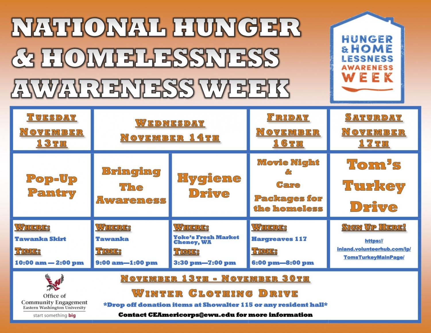 Schedule of events for Hunger and Homelessness Awareness Week.