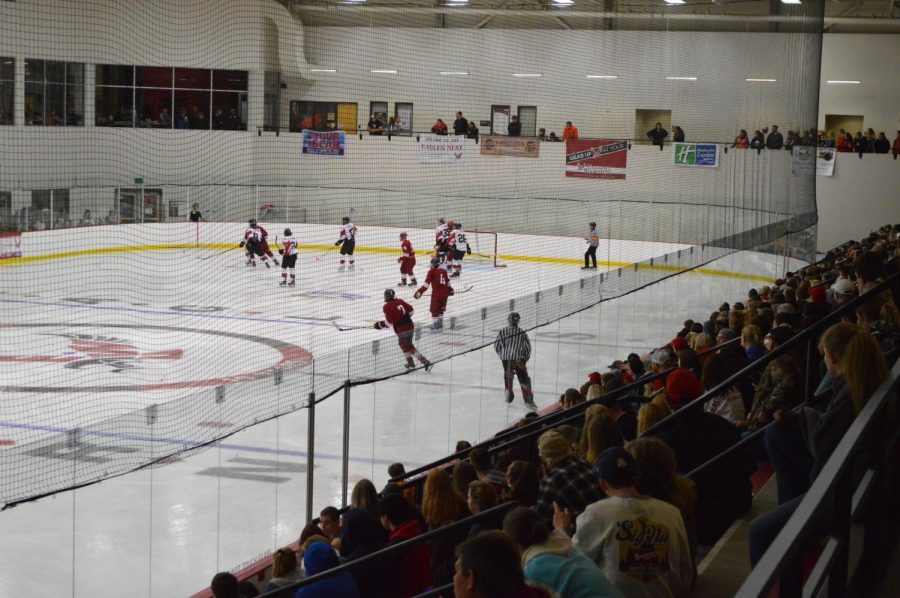Fans look on as the Eagles take on WSU on Oct. 26, 2018. Average hockey attendance is up 199 people from last years average of 478.