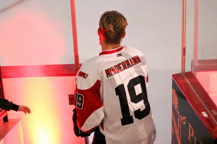 Senior forward Zac Mindermann steps onto the ice against Montana Tech on Nov. 9. Mindermann served two tours with the U.S. Marine Corps.