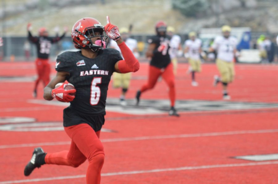 Senior+cornerback+Nzuzi+Webster+celebrates+as+he+runs+in+an+interception+to+open+the+scoring+in+the+second+half.+Webster%27s+touchdown+was+his+first+of+his+career.