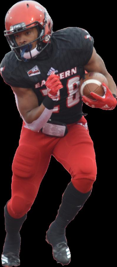 Junior runningback Antoine Custer Jr. carries the ball against UC Davis on Nov. 10. Senior Sam McPherson, junior Tamarick Pierce and Custer all scored two rushing touchdowns against the Aggies.