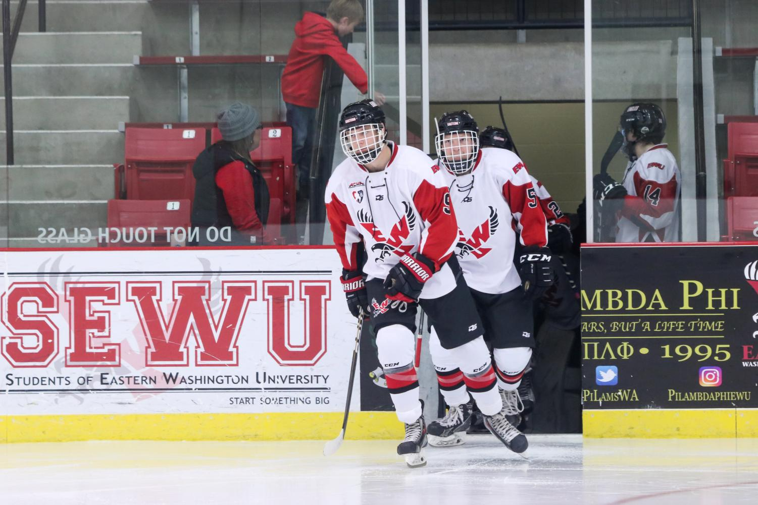 Sophomore forward Bobby Larue takes the ice in a home game on Nov. 9. EWU has the best win percentage in the PAC-8 this year.