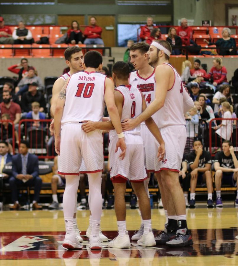The Eagles regroup before Weber State takes two free throw attempts in Saturday's 84-72 point loss to Weber State. The Wildcats outscored EWU by eight points in the second half.