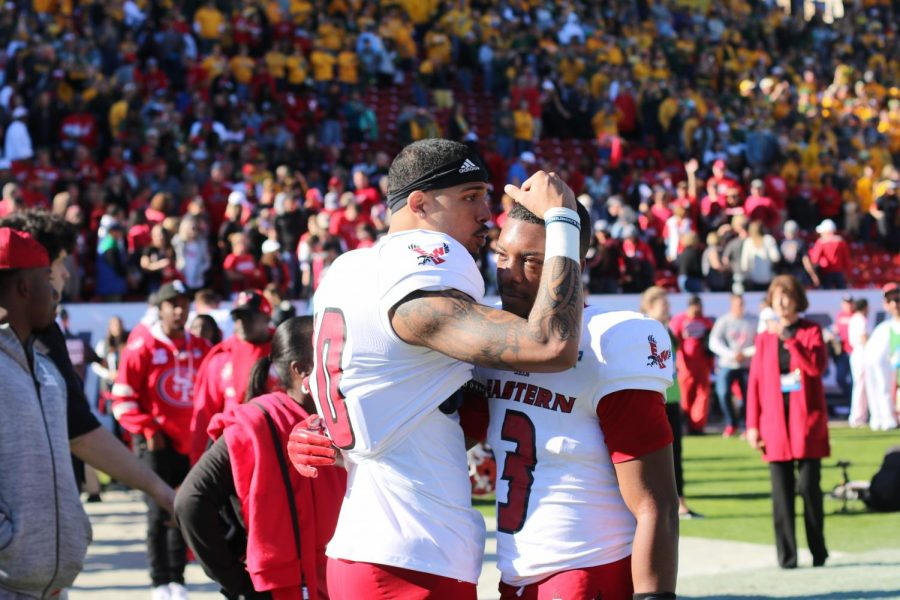 Freshman+Talolo+Limu-Jones+consoles+Sophomore+Eric+Barriere+after+the+Eagles+38-24+loss+to+NDSU+in+the+FCS+National+Championship+on+Saturday.+Barriere+threw+for+198+yards+and+rushed+a+touchdown+in+the+game.