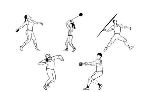 Sketches of the five different throws in track and field.