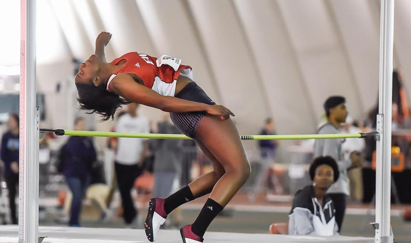 Senior multi-participant Mariah Cunningham competes in the high jump at the WSU Indoor Open on Jan. 18. Cunningham competed in the 200-meter dash, 60-meter hurdles, high jump and long jump at the event.