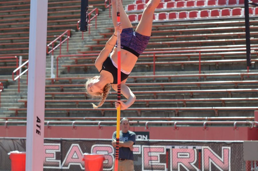 Senior Samantha Raines practices her vaults during outdoor season last year. Raines placed sixth in the Big Sky Conference outdoor championships last year, and was one of three Eagles to finish in the top six. Now Raines is ranked No. 2 in the pole vault for the BSC indoor season with senior teammate Liz Prouty ranked No. 1.
