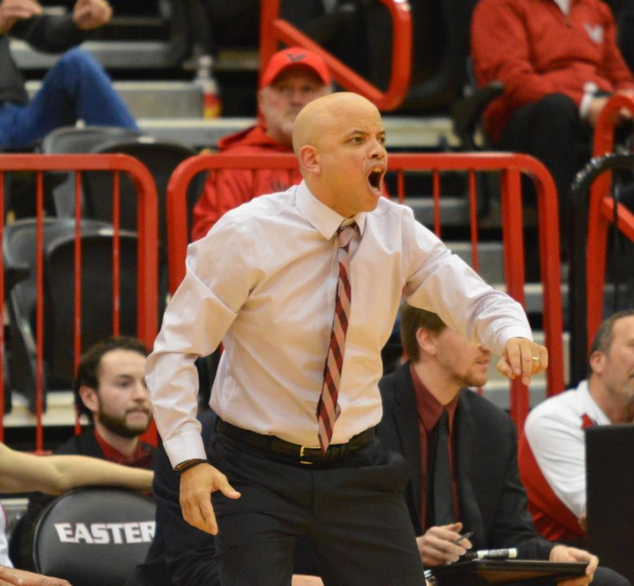 Head+coach+Shantay+Legans+yells+at+a+call+made+during+EWU%27s+59-56+loss+to+Sacramento+State.+EWU+committed+18+turnovers+in+the+game.