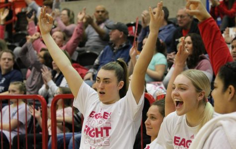 Junior forward Leya DePriest celebrates a 3-pointer in the Eagles' 81-76 win over Northern Arizona on Saturday. EWU made a season high 13 3-pointers in the victory.
