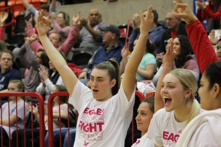 Junior+forward+Leya+DePriest+celebrates+a+3-pointer+in+the+Eagles%27+81-76+win+over+Northern+Arizona+on+Saturday.+EWU+made+a+season+high+13+3-pointers+in+the+victory.