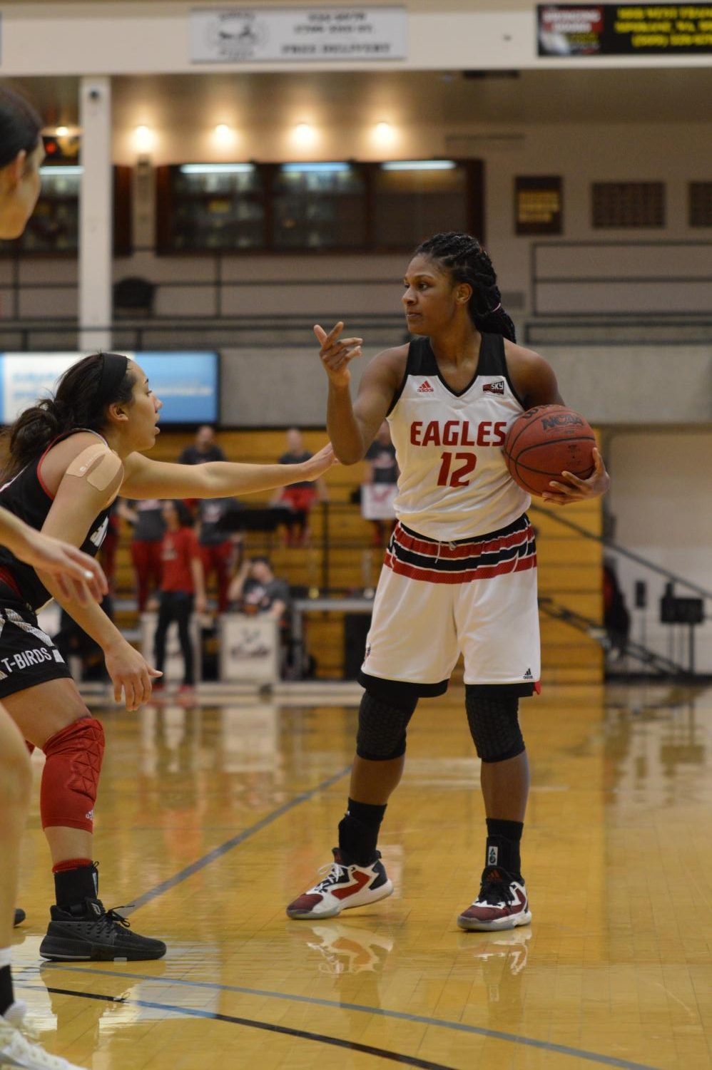 Senior guard Karpi Morrow guides the offense in EWU's 80-66 win over Southern Utah on Thursday. Morrow had a double-double with 12 points and 10 rebounds.