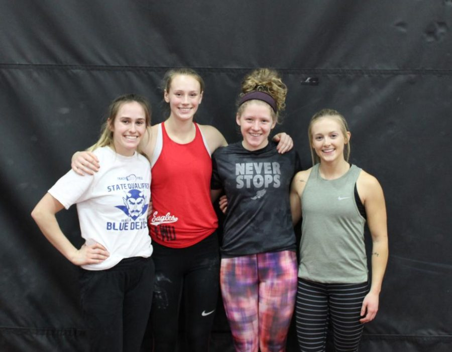Women's pole vaulters, left to right: freshman Hally Ruff, senior Liz Prouty, junior Morgan Fossen and senior Samantha Raines. Last year Prouty placed first in the Big Sky indoor championships and third in the outdoor championships.