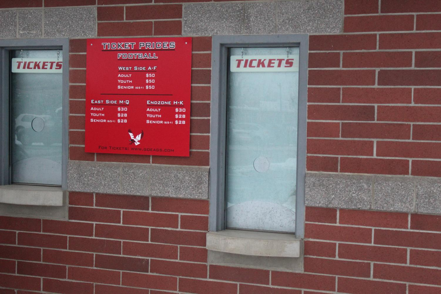 EWU's ticket booth located in the front side of Roos Field. Prices are expected to increase 35 percent this year according to Nicole Guerra, EWU director of ticketing and marketing.