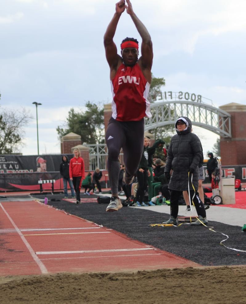 Junior Keshun McGee competes in the long jump at the 47th Pelluer Invitational on April 14, 2018. McGee won his third career Big Sky long jump championship at the BSC indoor championships in Bozeman, Montana, last weekend, to go along with his first career BSC championship in the triple jump.
