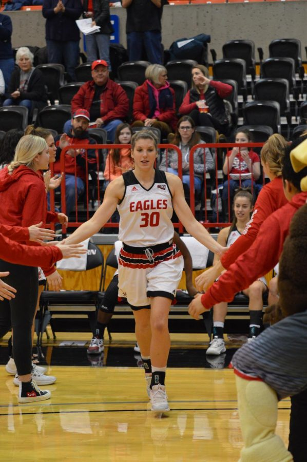Senior forward Alissa Sealby takes the court as the starting five is announced against Montana on Feb. 9. Sealby was second on the team with eight points in the Eagles' 67-64 win over the Grizzlies.
