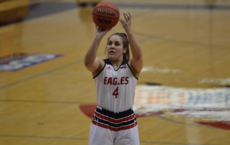 Freshman guard Jessica McDowell-White shoots a free throw in EWU's 67-64 win over Montana on Feb. 9. McDowell-White made the winning shot to send the Eagles to the Big Sky Tournament championship game, after in bounding the ball off of a defender on Wednesday.