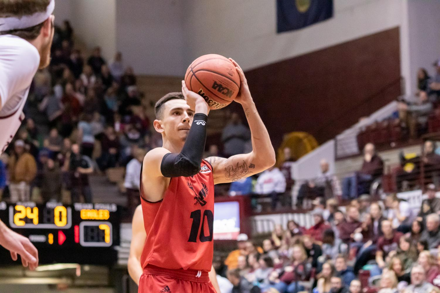 Sophomore guard Jacob Davison shoots a free throw against Montana  on Feb. 9. Davison sat down with The Easterner in February to discuss his journey to EWU.