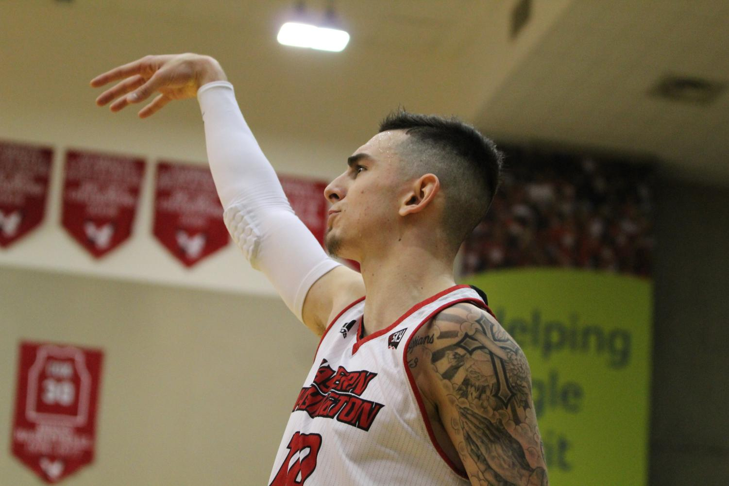 Sophomore guard Jacob Davison admires a shot in EWU's 88-78 win over Northern Colorado on Feb. 16. Davison suffered a high ankle sprain in the game against the Bears and is doubtful to return for the Big Sky Conference Tournament.
