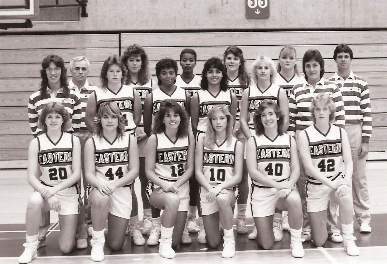 The 1987 EWU women's basketball team poses for a team photo. The team was coached by Bill Smithpeters (back left), who was inducted into the EWU Hall of Fame in 2010. The team as a whole was inducted into the EWU Hall of Fame in 2013, and are the only EWU women's basketball team to make the NCAA Tournament.