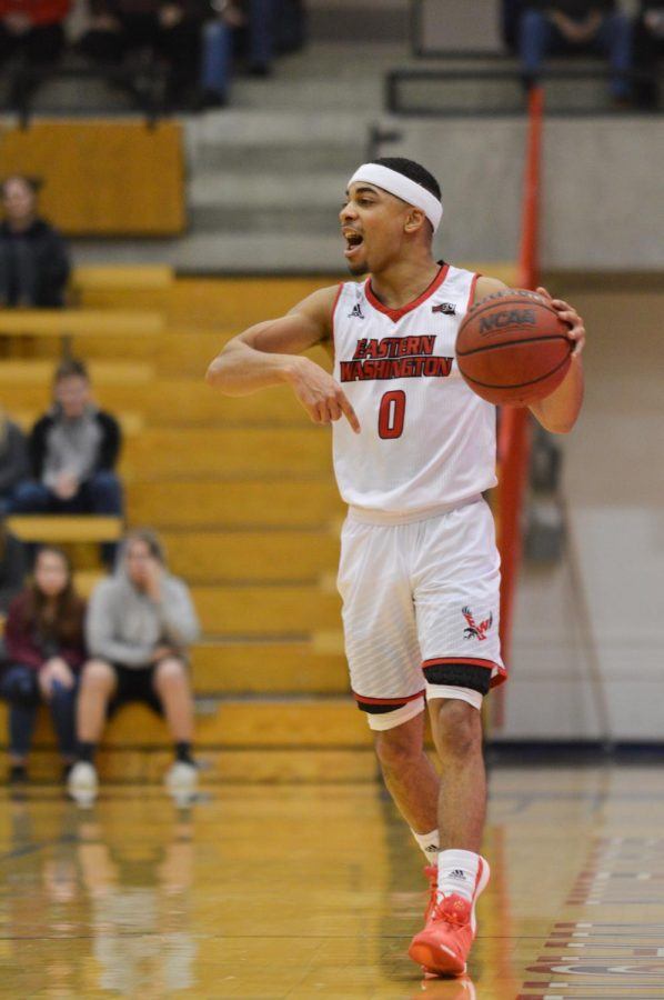 Junior guard Tyler Kidd organizes the offense in EWU's 59-56 loss to Sacramento State on Feb. 28. EWU is 9-5 overall with Kidd in the starting lineup. As a starter, Kidd averages 13.9 points, 4.1 assists and 1.3 steals per game.