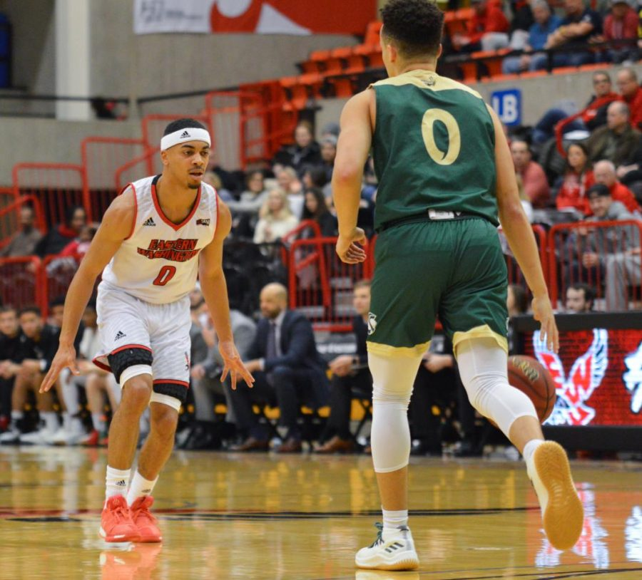 Junior guard Tyler Kidd sizes up a ballhandler against Sacramento State on Feb. 28. Kidd earned a starting role against Montana on Jan. 10 and has held it for 14 straight games.