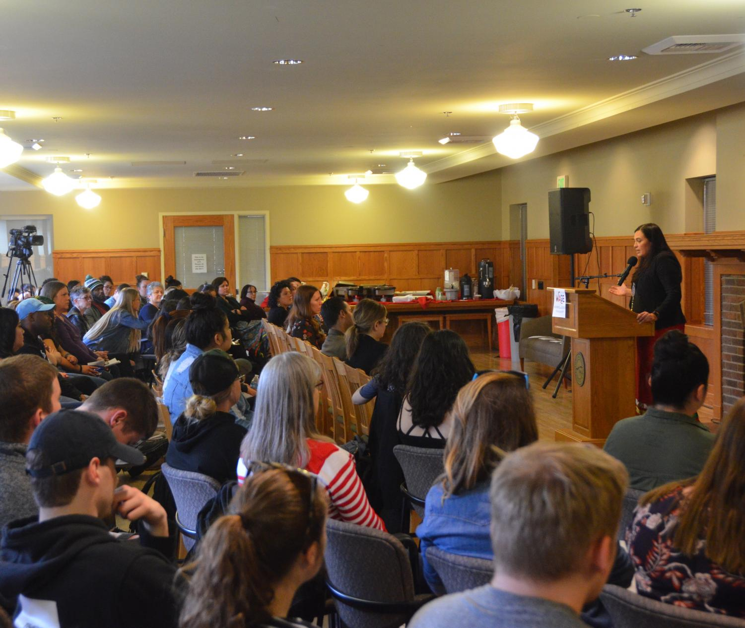 Deborah Parker gives a speech to EWU students on April 16. Parker, who was the keynote speaker for Sexual Assault Action Week, is a social activist and member of the Tulalip Tribes of Washington.
