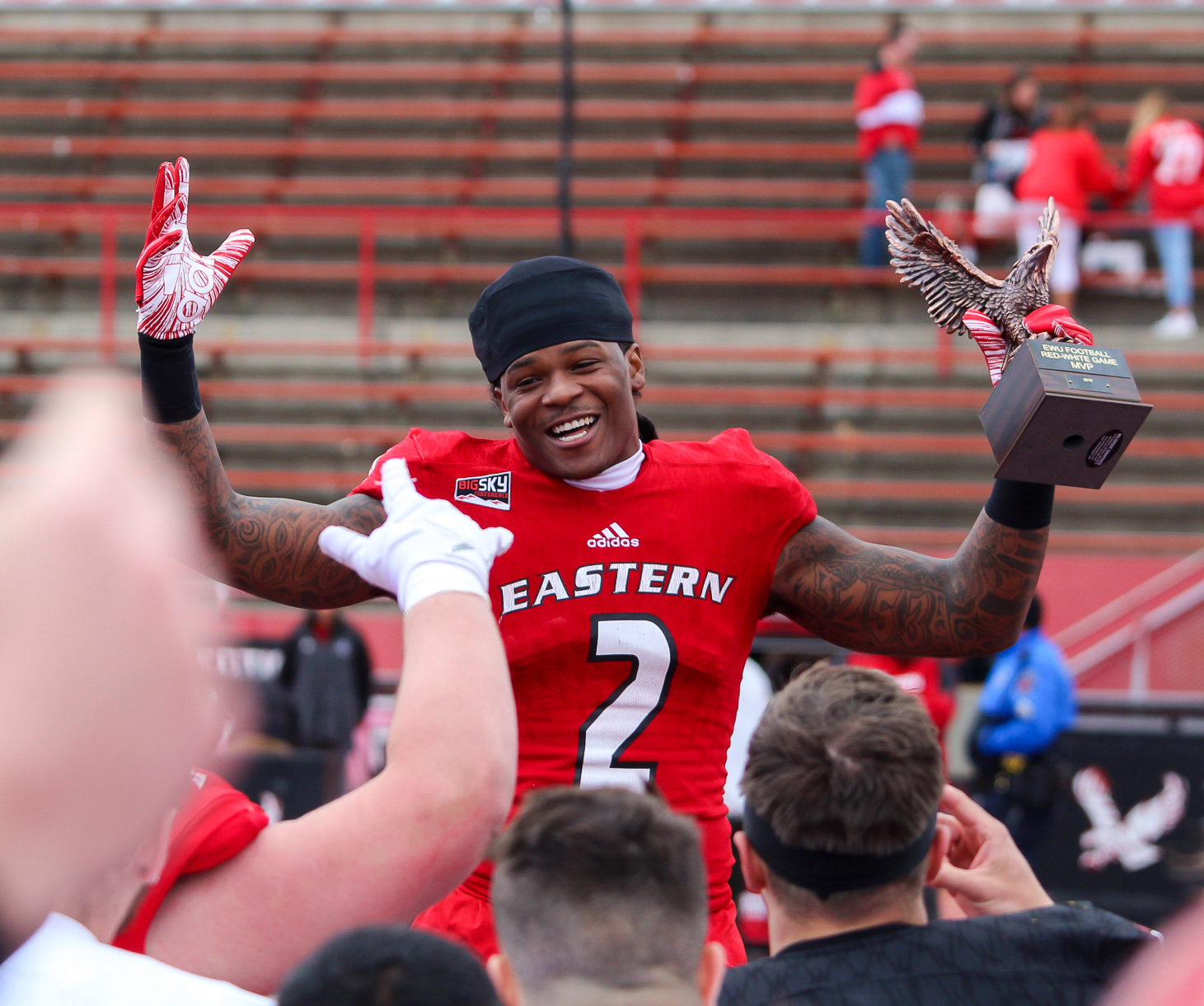 Senior wide receiver Jayson Williams earned the Red-White game's MVP award after catching four passes for 67 yards and two touchdowns.