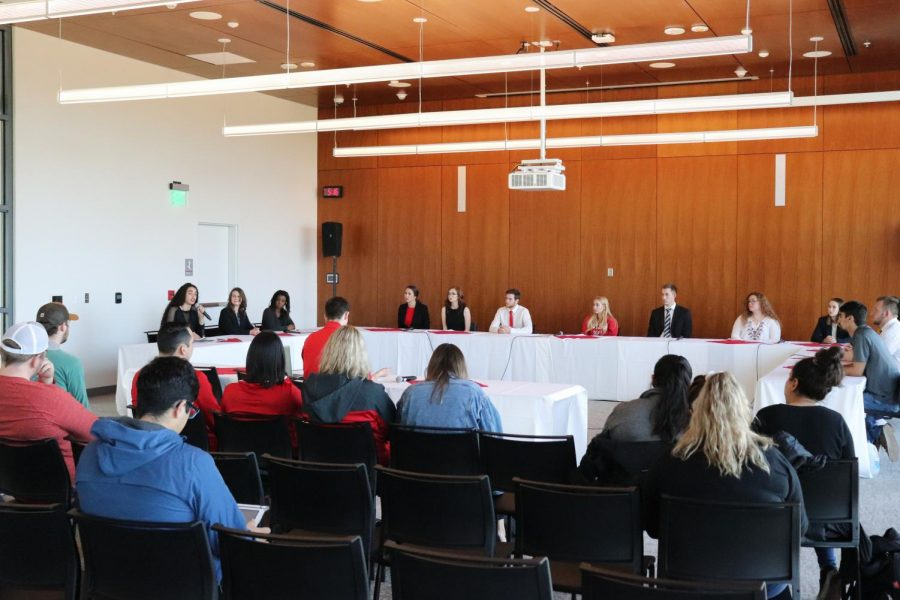 ASEWU candidates take part in a debate. The ASEWU general elections take place April 23-25.