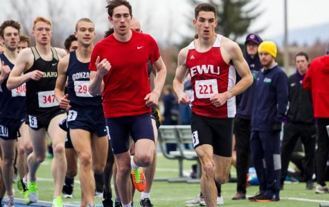 Sophomore distance runner Issac Barville leads the pack in the 1,500-meter run at the WAR XII on April 6. Barville finished the race first overall with a time of 3:50.62.