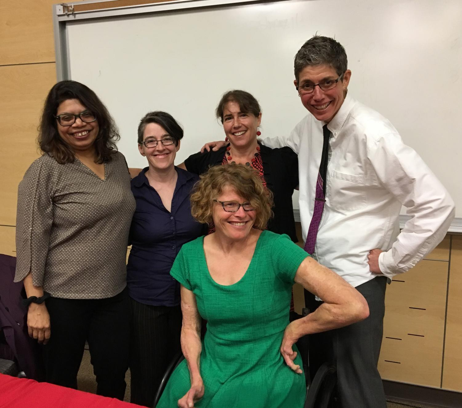 Front row: Alison Kafer, PhD. Back row: Nirmala Erevelles, PhD, Lisa Logan, Jessi Willis, PhD, Judy Rohrer, PhD. Erevelles and Kafer spoke recently at EWU for the