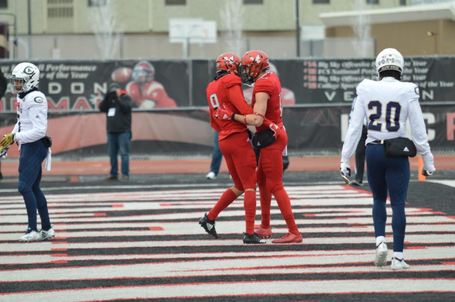 EWU WR Andrew Boston celebrates a touchdown during an EWU 34-29 comeback victory over UC Davis in the 2018 FCS quarterfinals.