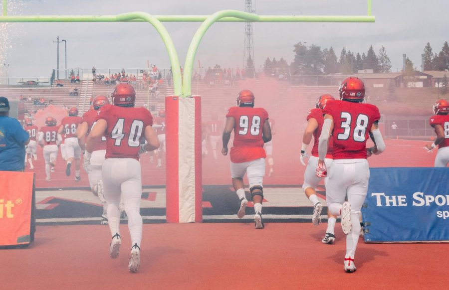 EWU+takes+the+field+for+its+home+opener+against+Lindenwood+on+Sept.+7.+EWU+won+the+game+59-31.+